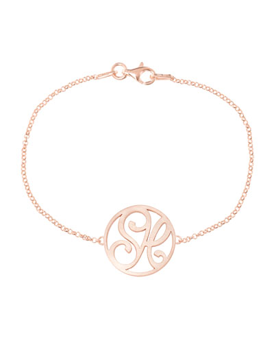 Mini 2-Initial Monogram Bracelet, Rose Gold
