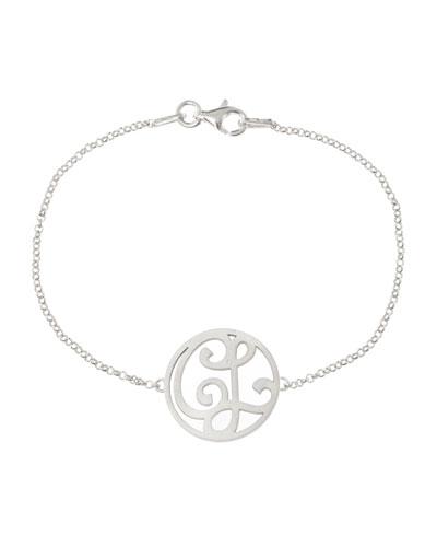 Mini 2-Initial Monogram Bracelet, Rhodium Silver