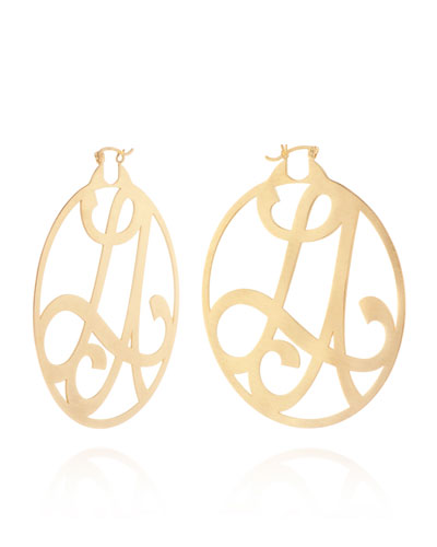 Medium 2-Initial Monogram Hoop Earrings, Yellow Gold