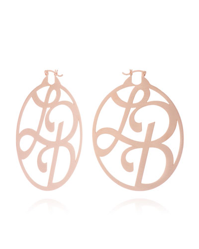 Medium 2-Initial Monogram Hoop Earrings, Rose Gold