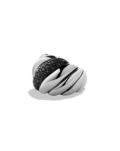 Hampton Cable Ring with Black Diamonds