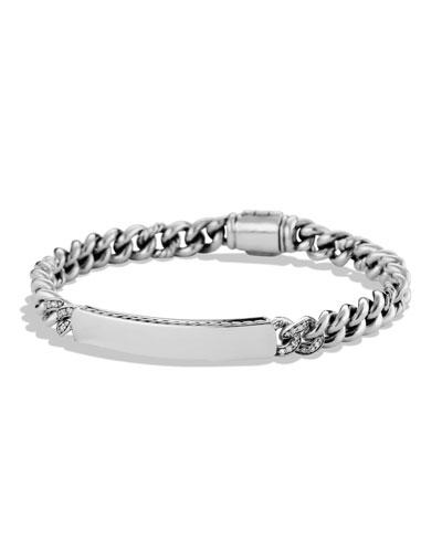Petite Pavé Curb Link ID Bracelet with Diamonds