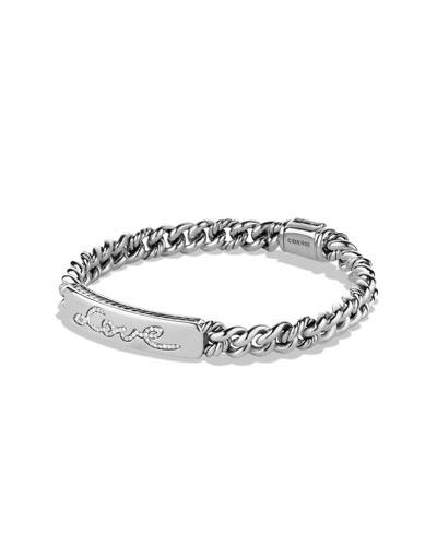 Petite Pavé Curb Link Love ID Bracelet with Diamonds
