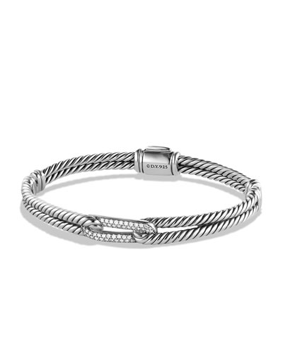 Petite Pave Mini Single-Loop Bracelet with Diamonds