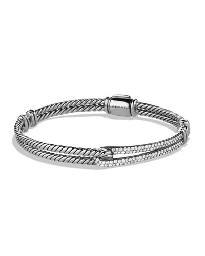 Petite Pave Labyrinth Single-Loop Bracelet with Diamonds