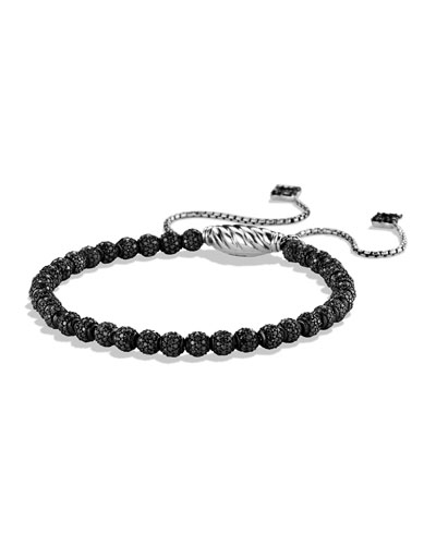 Petite Pavé Spiritual Bead Bracelet with Black Diamonds