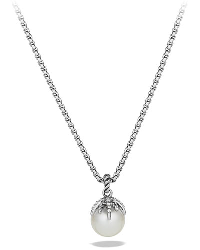 Starburst Pearl Pendant with Diamonds on Chain