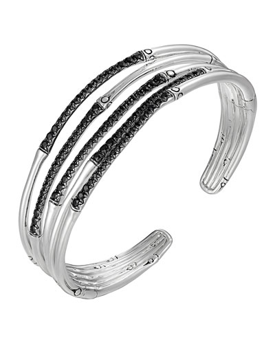 Bamboo Silver Lava Narrow Flex Cuff With Black Sapphires
