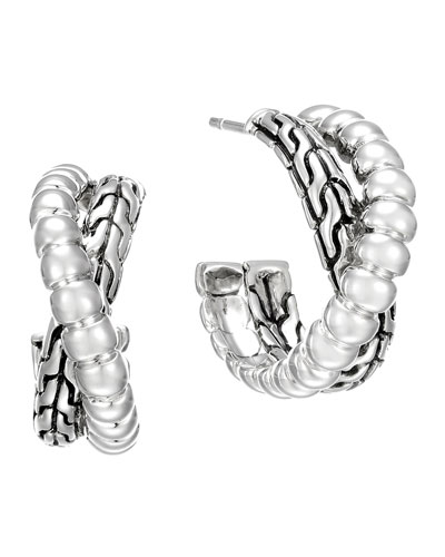 Classic Chain Silver Small Twist Hoop Earrings