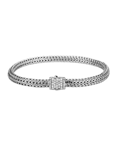 Classic Chain Diamond-Clasp Bracelet