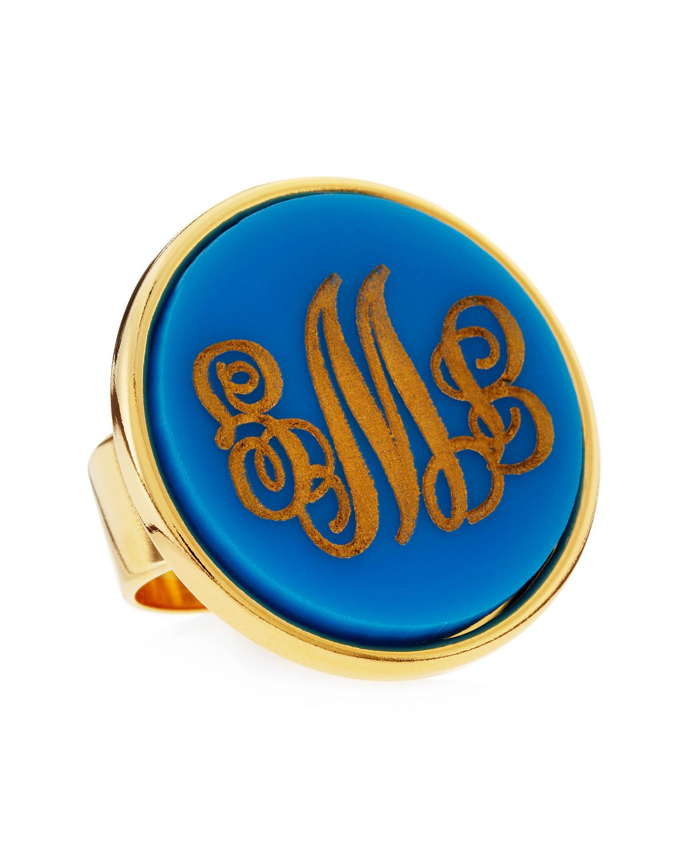 Large Script-Lettered Circle Acrylic Monogram Ring