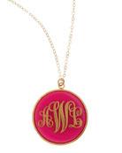 Extra Large Circle Acrylic Script Monogram Pendant Necklace