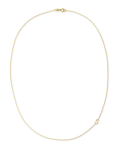 Mini Number Necklace, Yellow Gold