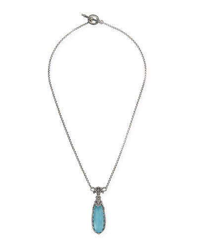 Turquoise & Rock Crystal Doublet Pendant Necklace