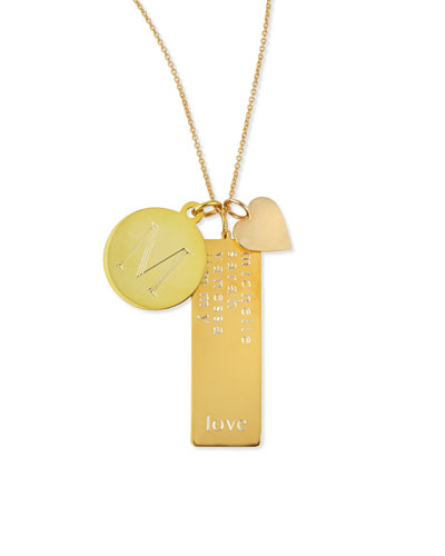 14k Gold Plated Cari 3-Pendant Necklace with Initial, Multi-Name Tag & ...