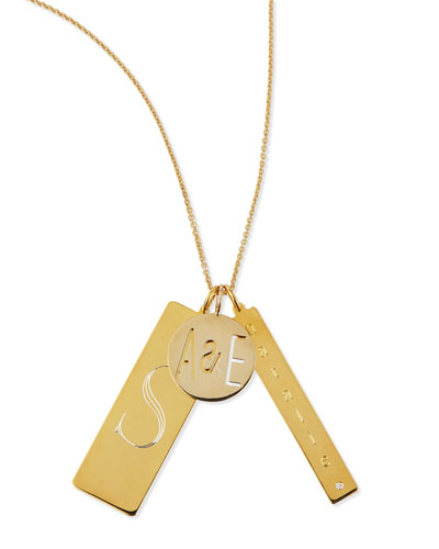 14k Gold Plated Edie 3-Pendant Necklace with Personalized Monogram, Initial ...