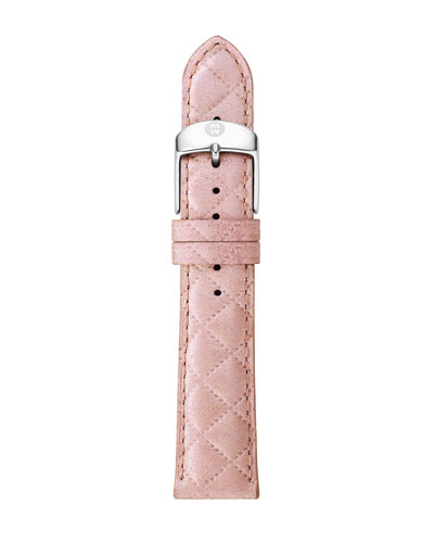 20mm Quilted Leather Strap, Pink