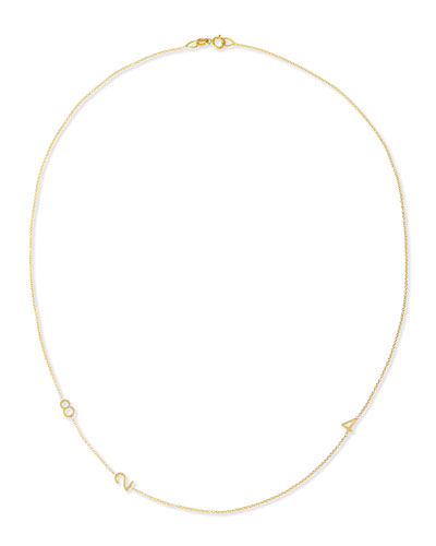 Mini 3-Number Necklace, Yellow Gold