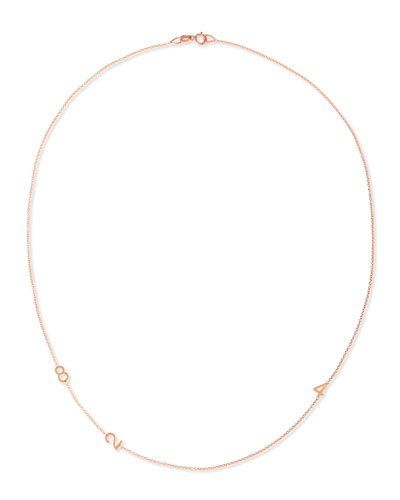 Mini 3-Number Necklace, Rose Gold