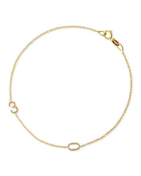Maya Brenner Designs Mini 2-Number Bracelet, Yellow Gold