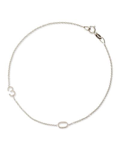 Mini 2-Number Bracelet, White Gold
