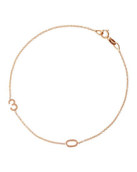Maya Brenner Designs Mini 2-Number Bracelet, Rose Gold