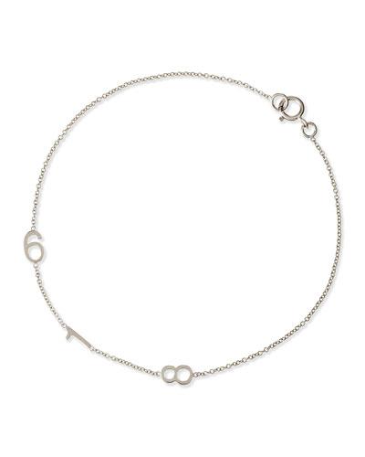 Mini 3-Number Bracelet, White Gold