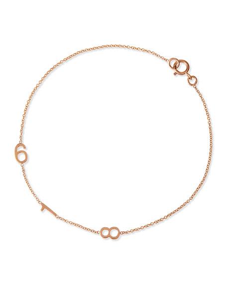 Maya Brenner Designs Mini 3-Number Bracelet, Rose Gold
