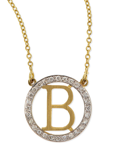 Small Round Initial Pendant Necklace with Diamonds