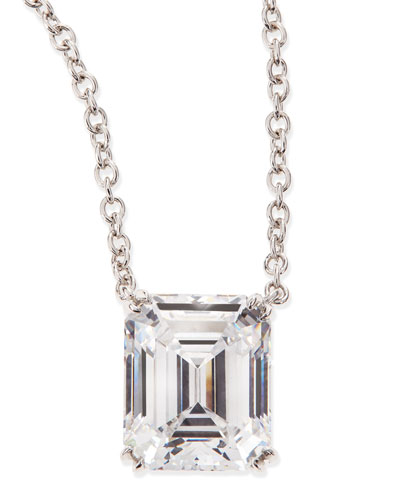 6.0 Carat Cubic Zirconia Emerald-Cut Pendant Necklace
