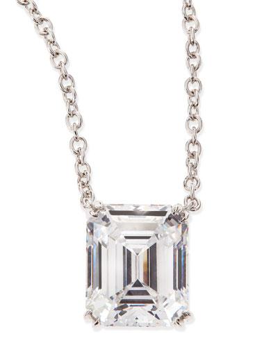 6.0 Carat Cubic Zirconia Emerald-Cut Pendant Necklace