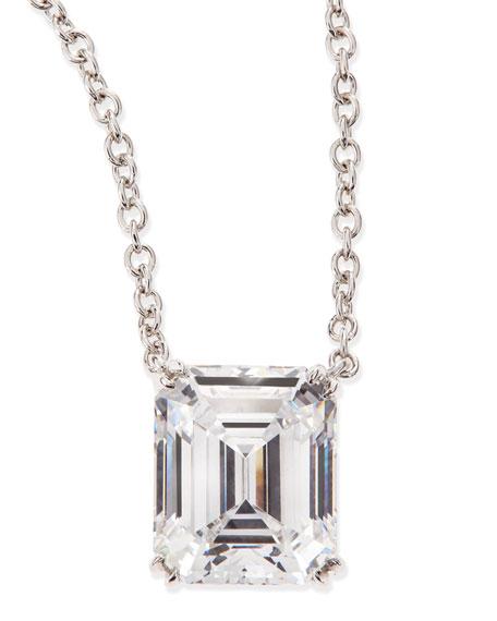 Fantasia by DeSerio 6.0 Carat Cubic Zirconia Emerald-Cut Pendant Necklace