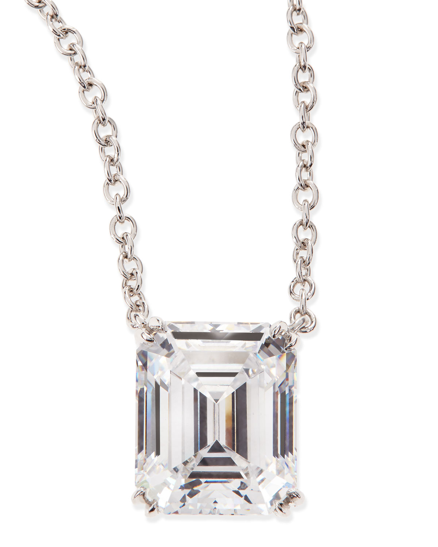 6.0 TCW Cubic Zirconia Emerald-Cut Pendant Necklace