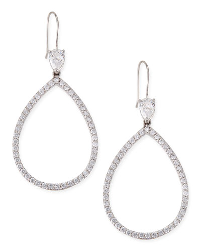 Open Pave Cubic Zirconia Pear Earrings