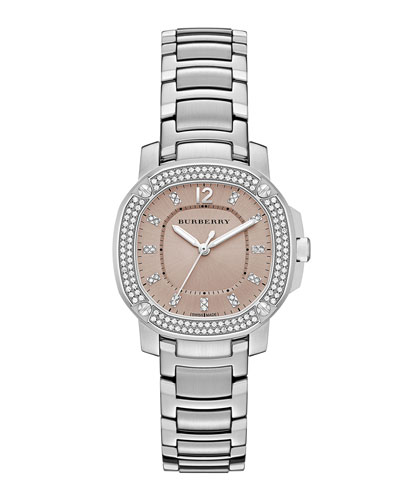 34mm Octagonal Stainless Steel Watch with Diamonds