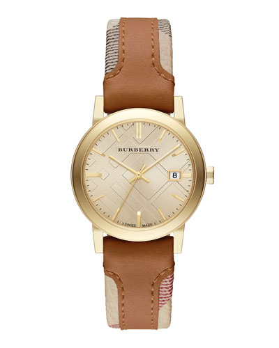 34mm Golden Watch with Check & Leather Strap