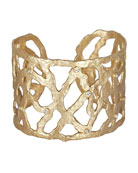 18k Gold Open-Weave Cuff with Diamonds