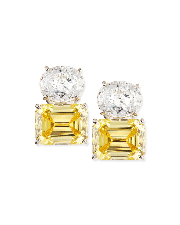 26.0 TCW White Oval & Canary Emerald-Cut Stud Earrings
