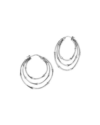 Bamboo Silver Small Side Facing Orbital Hoop Earrings