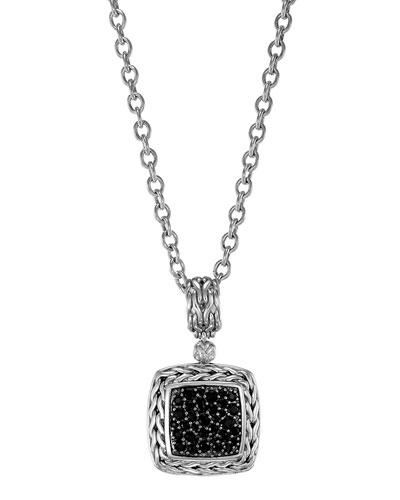 Classic Chain Medium Pave Black Sapphire Pendant