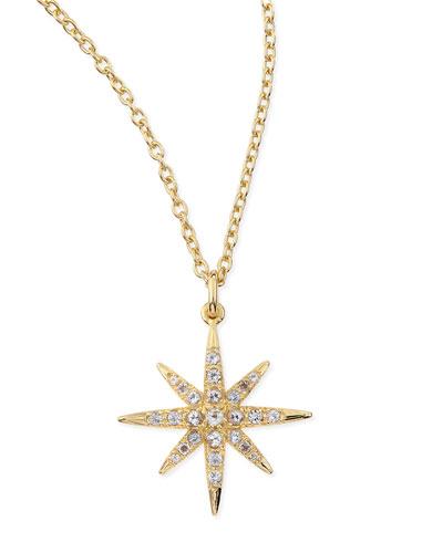 Compass White Topaz Star Pendant Necklace