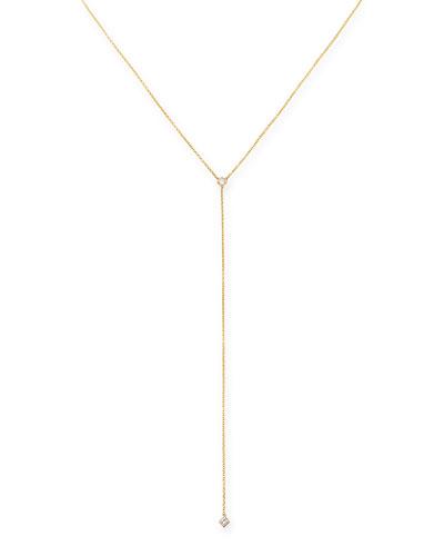 14k Yellow Gold Princess Diamond Lariat Necklace