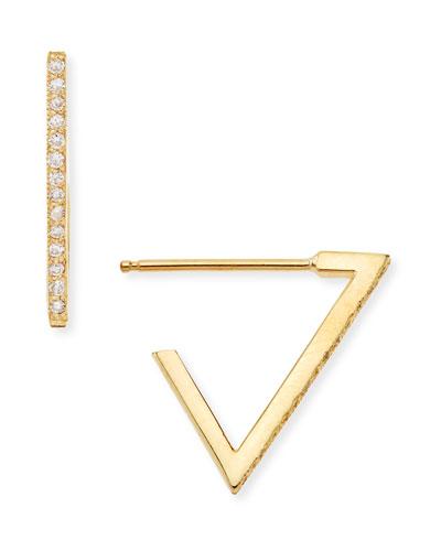 14k Pave Diamond Triangle Earrings