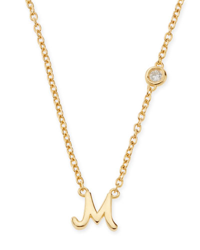 M Initial Pendant Necklace with Diamond