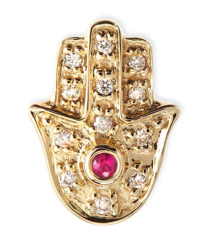 14k Yellow Gold Diamond Hamsa Single Stud Earring