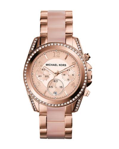 Mid-Size Rose Golden Stainless Steel Blair Chronograph Glitz Watch