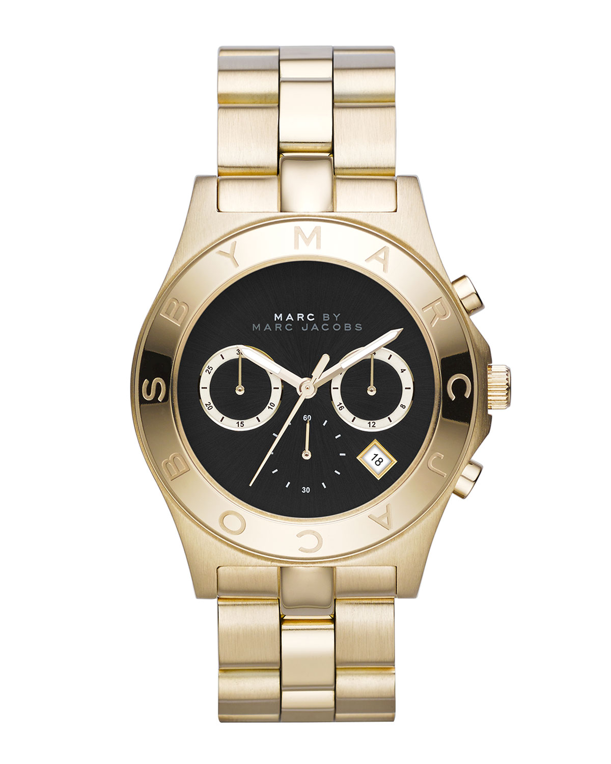Blade Golden Chronograph Watch with Black Dial
