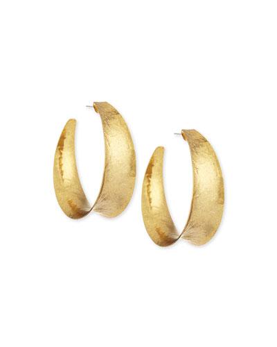 Hammered Brass Graduated Hoop Earrings
