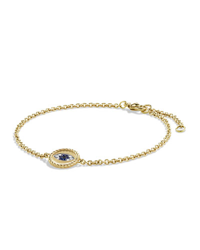 Pavé Cable Evil Eye Charm with Blue Sapphire, Diamonds and Black ...