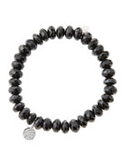 8mm Faceted Black Spinel Beaded Bracelet with Mini White Gold Pave Diamond Disc Charm (Made to Order)